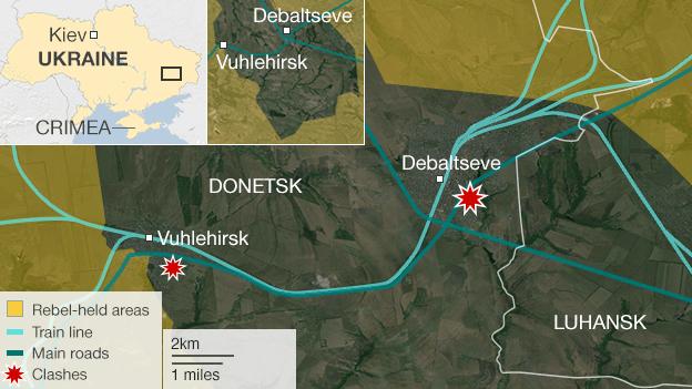Map showing fighting around Debaltseve