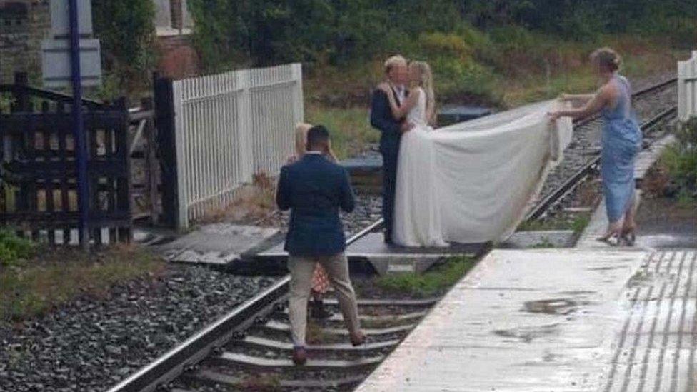 Wedding photos on a railway line