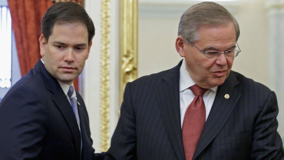 Senadores Marco Rubio y Bob Menéndez