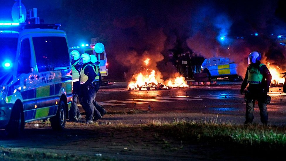 Protesters riot in the Rosengard neighbourhood of Malmo, Sweden, on August 28, 2020
