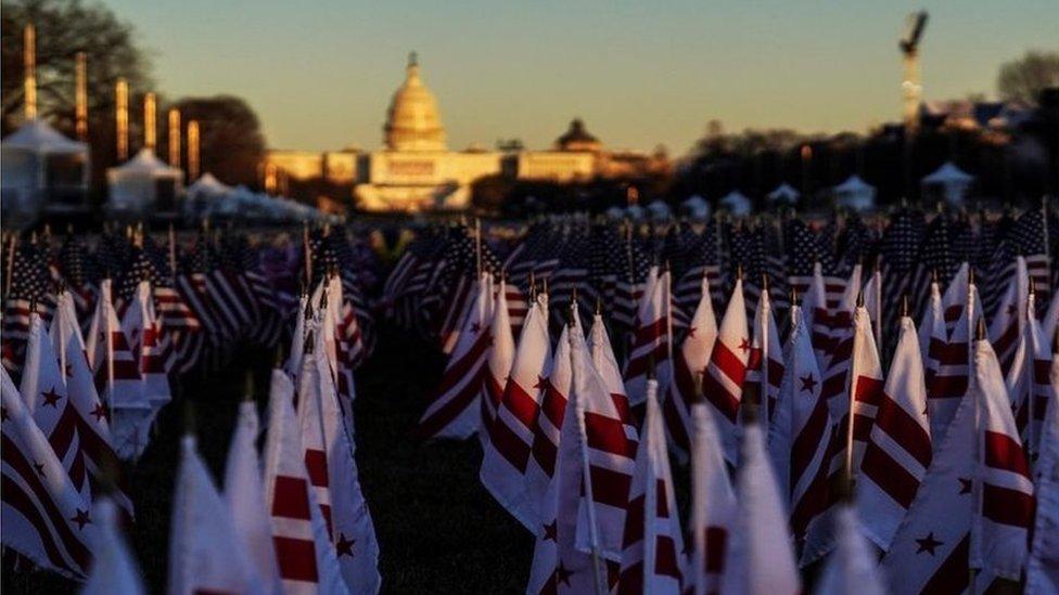 Banderas del memorial por los fallecidos de covid-19.