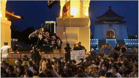 台灣人舉行支援香港的示威活動