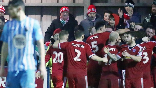 Cliftonville celebrate scoring the only goal in the semi-final