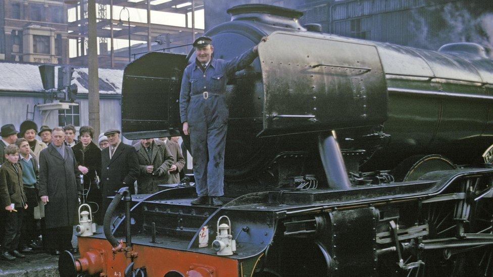 Alan Pegler with Flying Scotsman