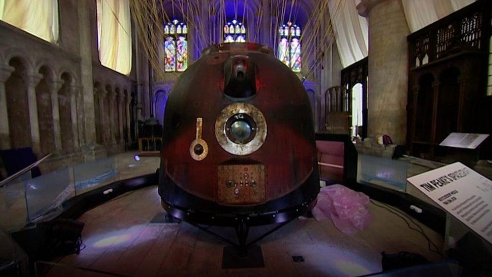 Tim Peake's spacecraft on show at Peterborough Cathedral