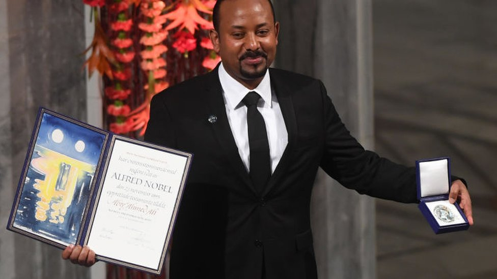 Abiy Ahmed at Nobel ceremony