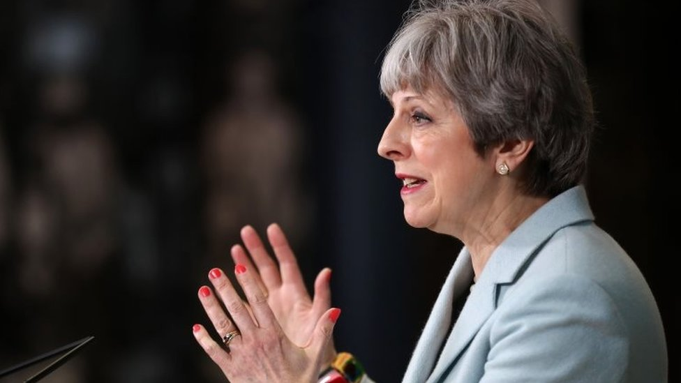 Theresa May during her education speech