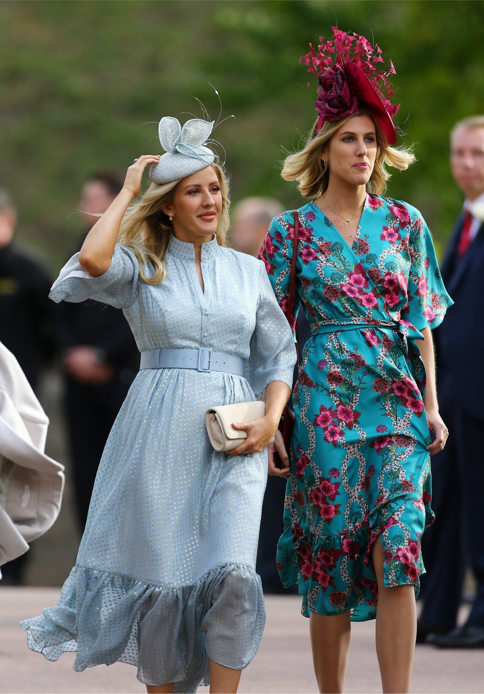 Ellie Goulding and a guest arrive at the royal wedding