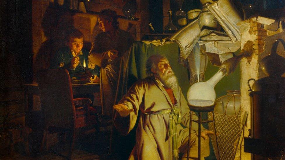 El alquimista descubriendo el fósforo