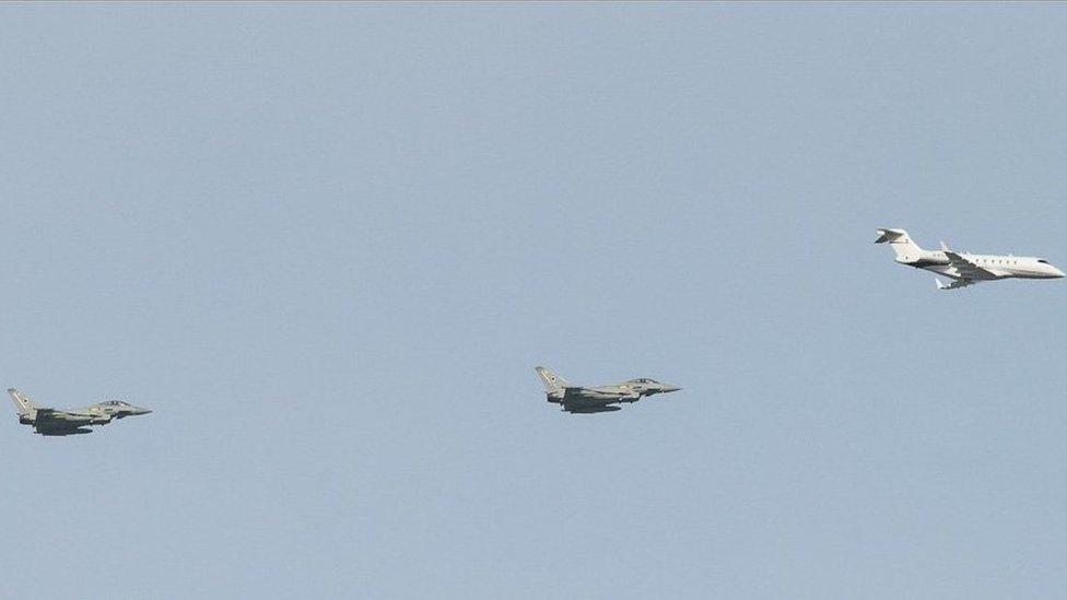 RAF jets escorting the plane