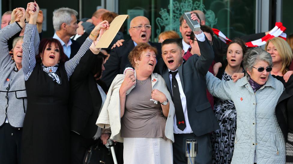 Hillsborough relatives celebrate the inquest verdict, 26 April 2016