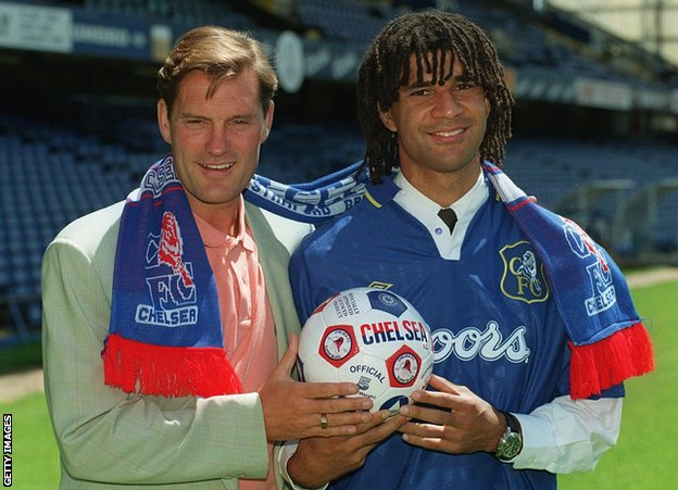 With his Chelsea kit on over a shirt and tie, Gullit is introduced to English football in June 1995