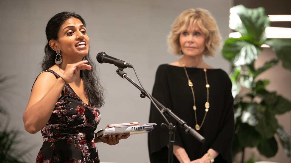 Saru Jayaraman and Jane Fonda attend benefit in support of workers' rights in 2018