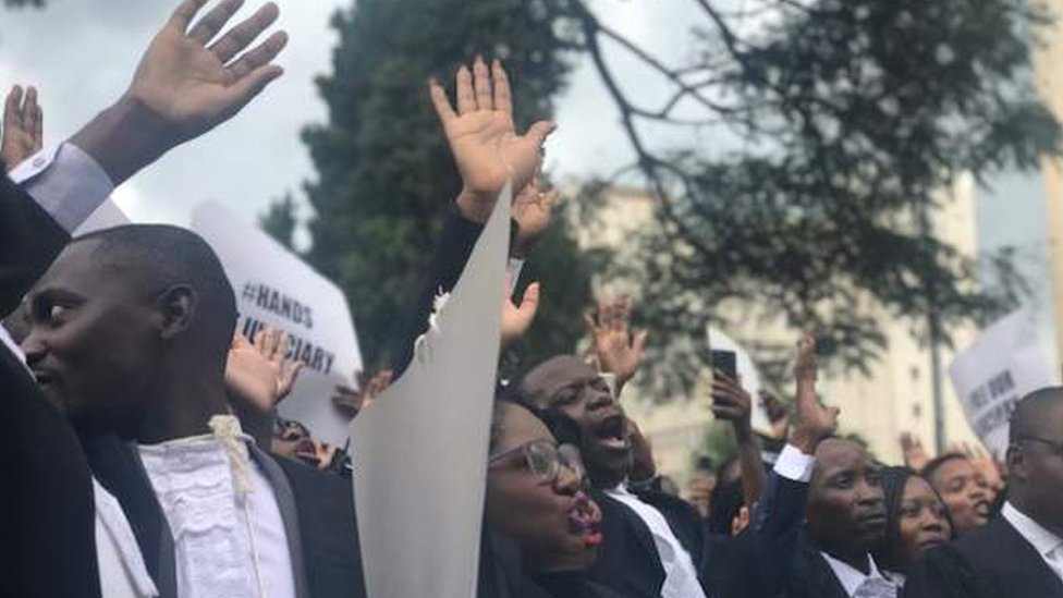 Lawyers protesting in Harare, Zimbabwe - Tuesday 29 January 2019