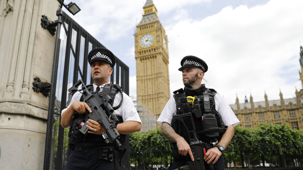 Photo of police outside parliament