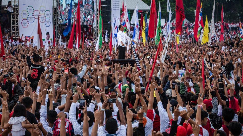 Incumbent president Joko Widodo at a campaign rally