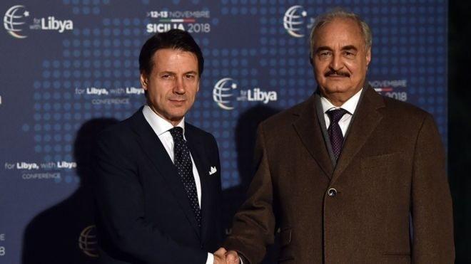 İtalya Başbakanı Giuseppe Conte ve General Halife Hafter