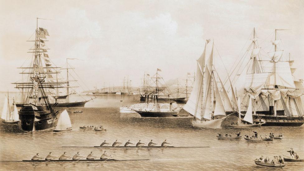 Ilustración del puerto de Nueva York en el siglo XIX.