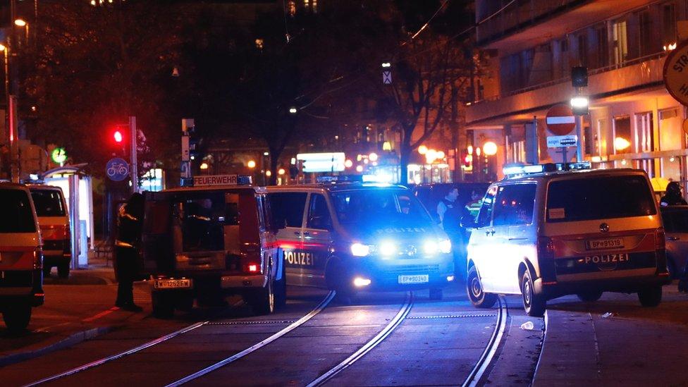 Police block a street near Schwedenplatz square after a shooting in Vienna, Austria 2 November 2020