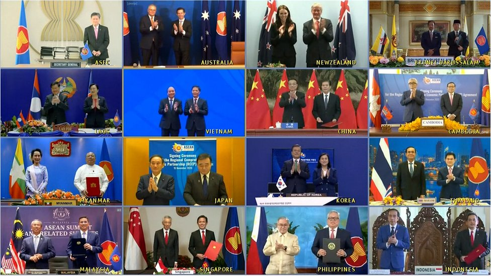 A handout image of a video conference made available by the Vietnam News Agency (VNA) shows leaders and trade ministers of 15 Asia-Pacific nations posing for a virtual group photo during the 4th Regional Comprehensive Economic Partnership (RCEP) Summit in Hanoi, Vietnam, 15 November 2020.