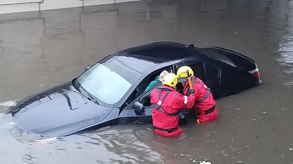 Firefighters rescuing a person in Blackpool