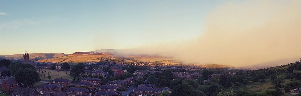 Panoramic view of the extent of the smoke
