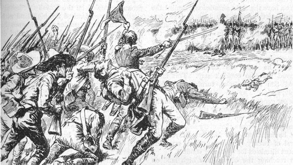 Ilustración que evoca la Batalla de Maipú