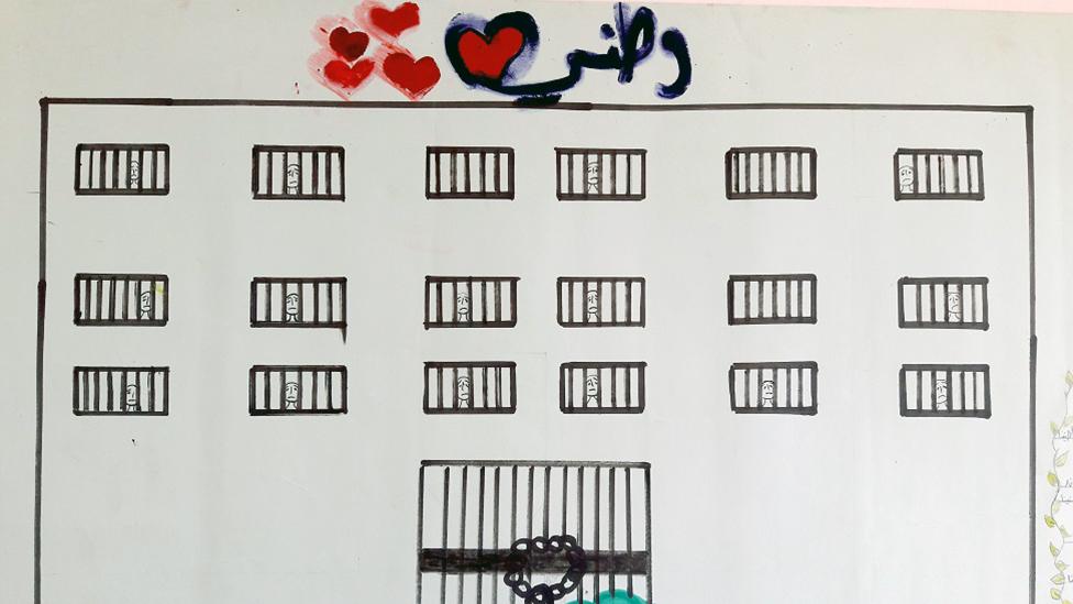 Un dibujo de un niño refugiado sirio muestra lo que parece ser una prisión con personas tristes tras las rejas.