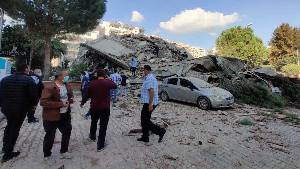 A view of a quake damaged site right after a magnitude 6.6 quake shaking Turkey's Aegean Sea coast