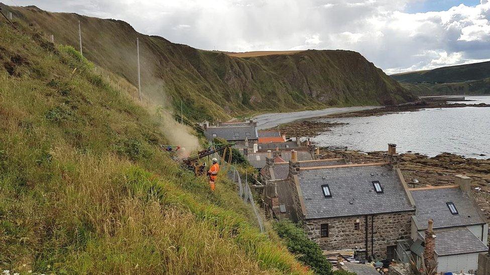 Crovie landslip work now 'well under way' says council