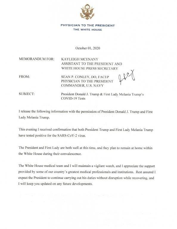 surat dokter Gedung Putih