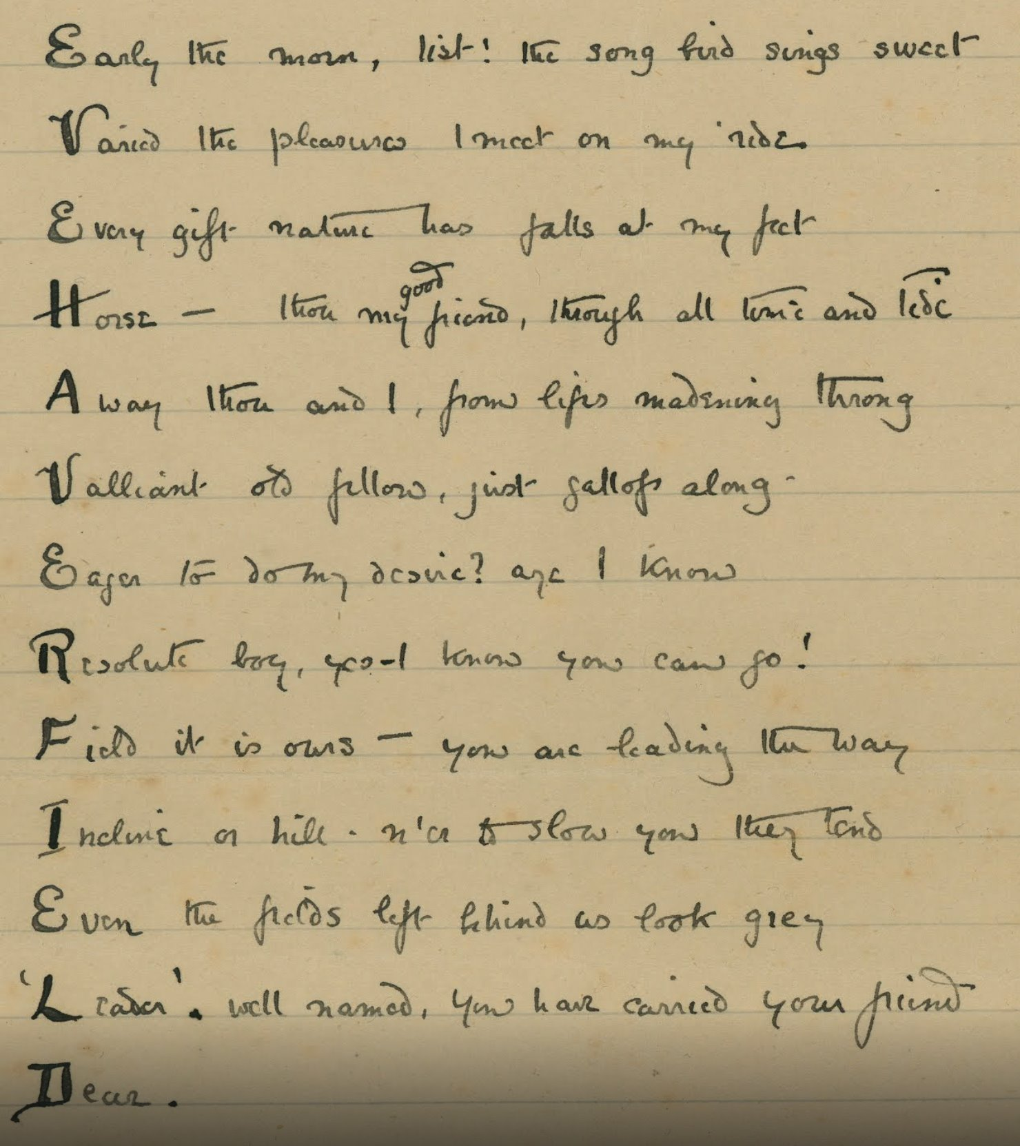 A poem to Evelina Haverfield (Oct 5, 1909)
