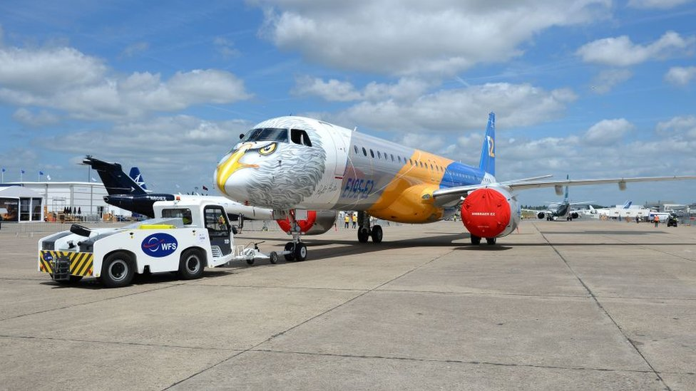 An Embraer E 195 E2 moves on the tarmac on June 16, 2017 in le Bourget near Paris prior to the opening of the International Paris Air Show on June 19