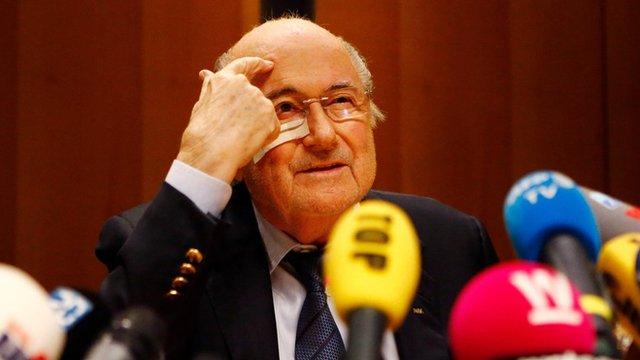 Sepp Blatter during a press conference 21 December 2015