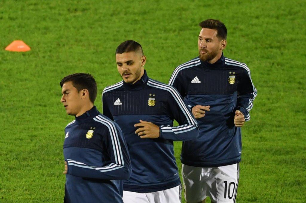 Paolo Dybala, Mauro Icardo y Lionel Messi