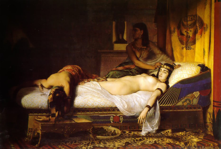 Morte de Cleópatra retratada pelo pintor Jean-André Rixens, no século 19