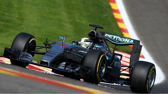 Lewis Hamilton drives at Spa-Francorchamps