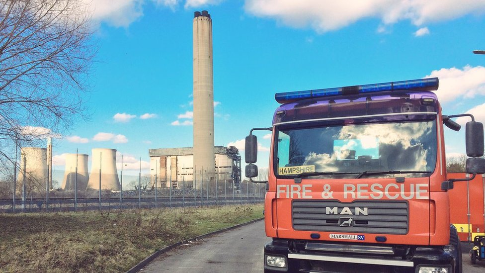 Fire engine at Didcot power station