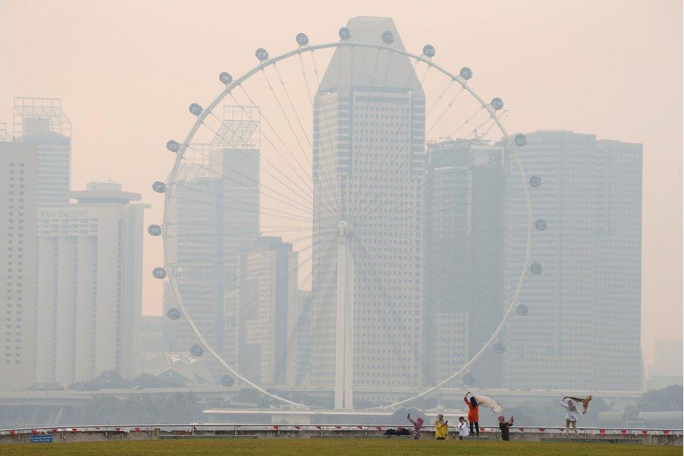 Singapore's skyline, shrouded in haze. 26 August 2016.