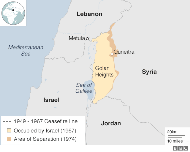 A BBC map showing Israel and Lebanon