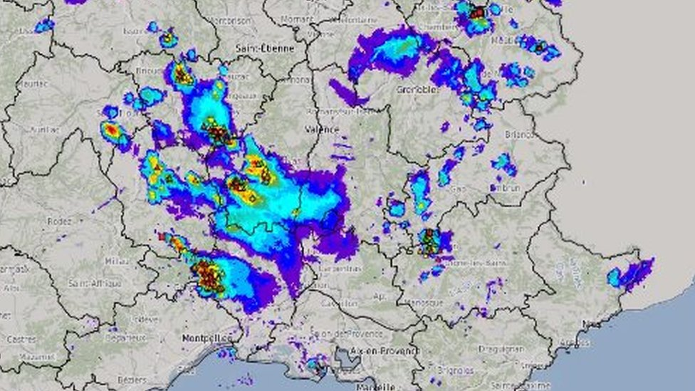 Satellite image of hailstorm in south of France (17 August)
