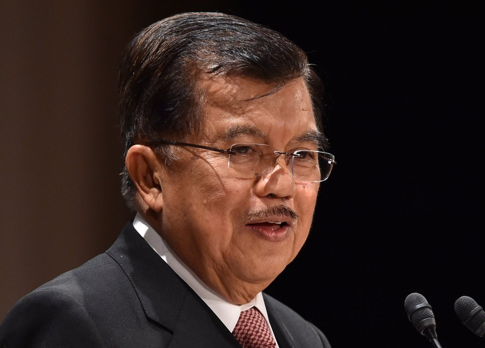Indonesia's Vice President Jusuf Kalla delivers a speech at the 21st International Conference of The Future of Asia at a hotel in Tokyo on 21 May 2015.