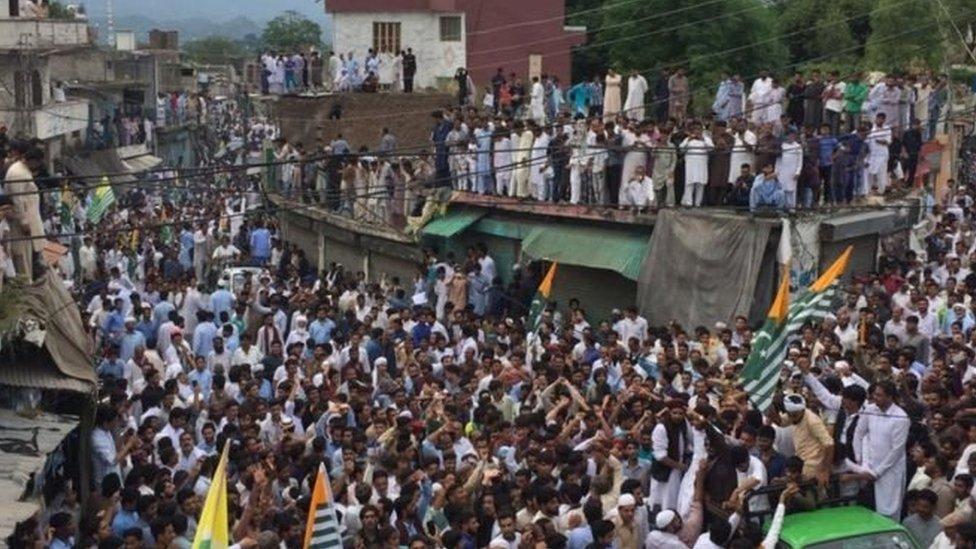 पाक प्रशासित कश्मीर में प्रदर्शन जारी