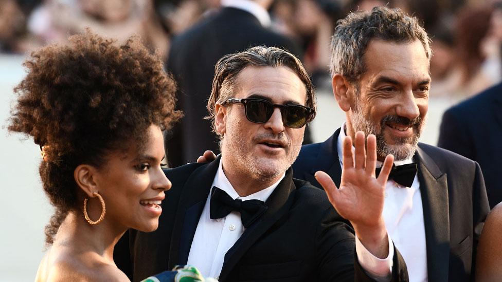 Zazie Beetz, Joaquin Phoenix and Todd Phillips
