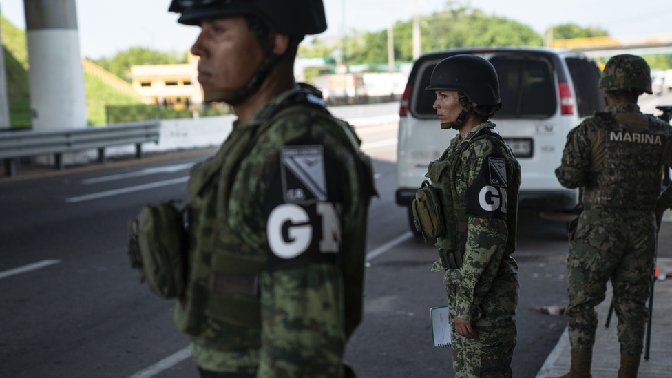 Mexican National Guard at border crossing, June 2019