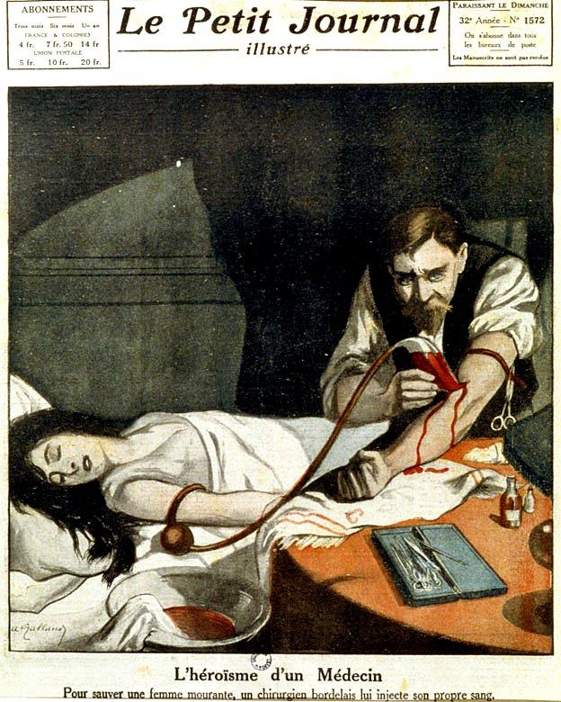 Doctor haciéndole una transfusión a una mujer con su propia sangre.