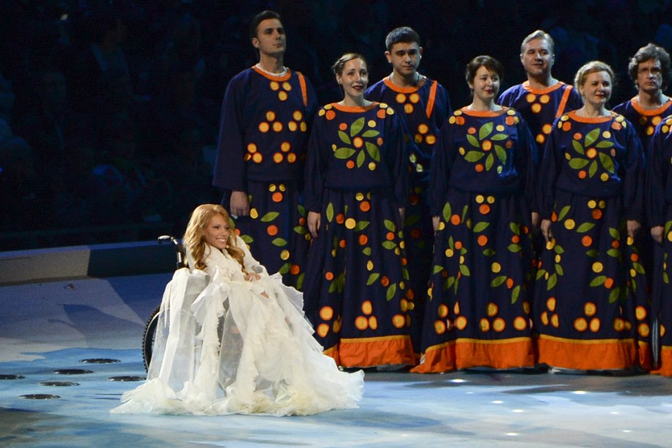 In this photo taken on Friday, 7 March 2014, Julia Samoilova sings during the opening ceremony of the 2014 Paralympic Games in Sochi, Russia.