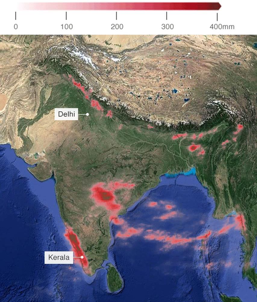 Hindistan'da 10-16 Ağustos arası düşen yağışı gösteren meteoroloji haritası