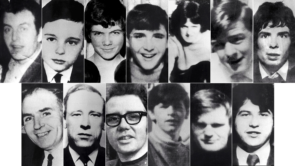 Top row, from left to right: Patrick 'Paddy' Doherty, Gerald Donaghey, John 'Jackie' Duddy, Hugh Gilmour, Michael Kelly, Michael McDaid, Kevin McElhinney. Bottom row, from left to right: Bernard McGuigan, Gerard McKinney, William McKinney, William Nash, James Wray, John Young
