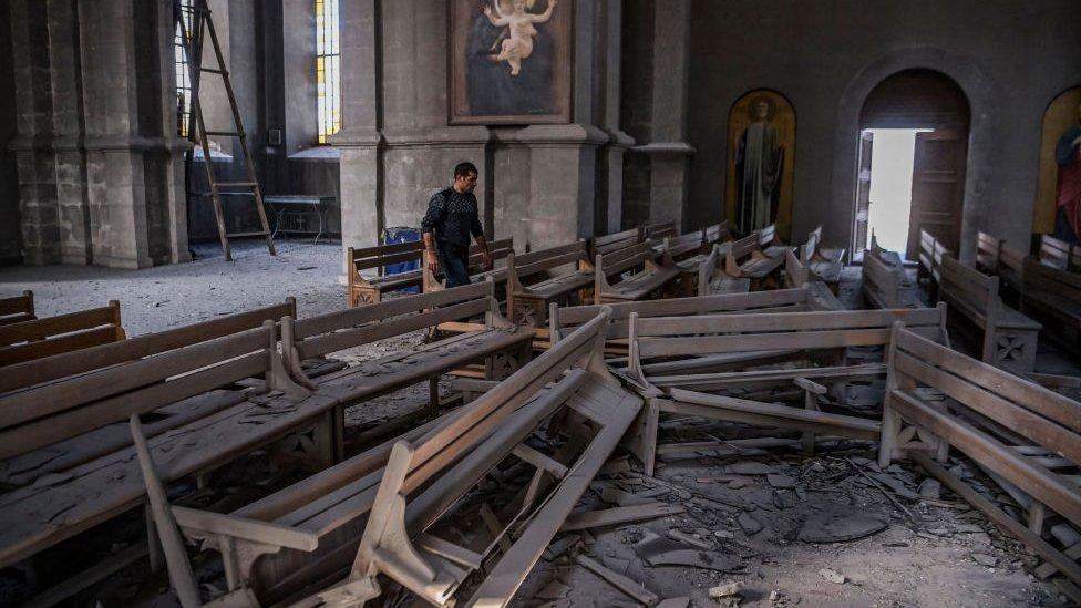 Nagorno-Karabakh: Armenia Accuses Azerbaijan of Shelling Shusha Cathedral